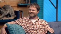 Rainn Wilson Wears a Short Sleeved Plaid Shirt & Colorful Sneakers