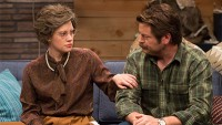 Nick Offerman Wears a Green Flannel Shirt & Brown Boots