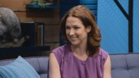 Ellie Kemper Wears a Purple Ruffled Sleeveless Top & Lavender Flats