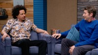Eric Andre Wears a Cat Collage Shirt & Sneakers