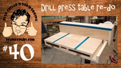 SWEET Homemade drill press table with T-Style fence and dust collection