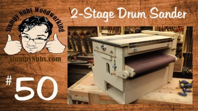 Homemade TWO STAGE drum sander with Sand Flea and feed belt features