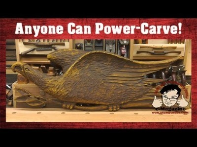 Anyone can power-carve in wood! (Carving a folk-art eagle with the Arbortech mini-grinder)